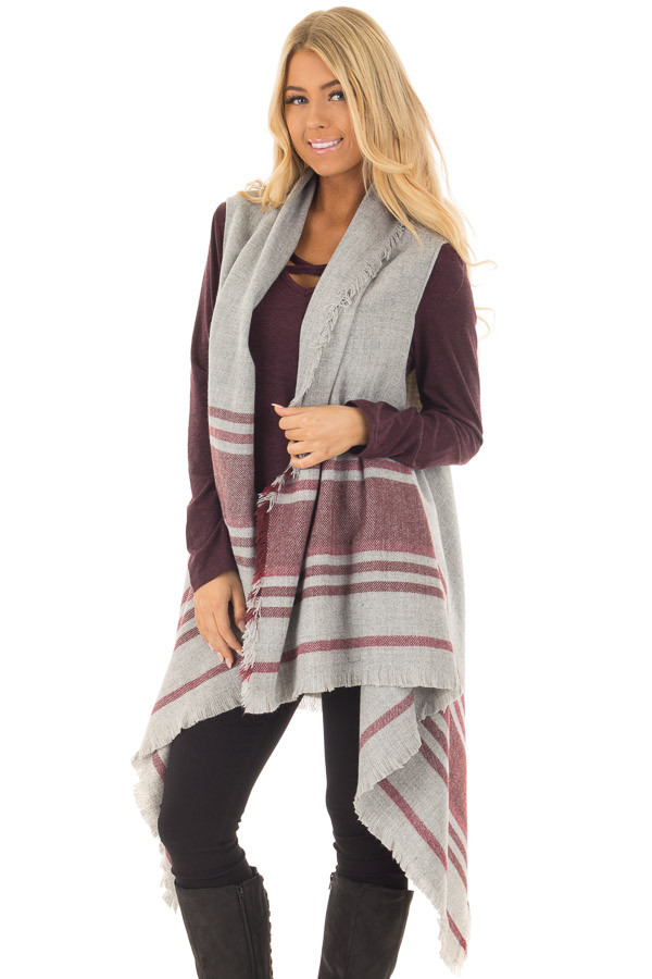 Heather Grey and Wine Sleeveless Cardigan with Fringe Detail front closeup