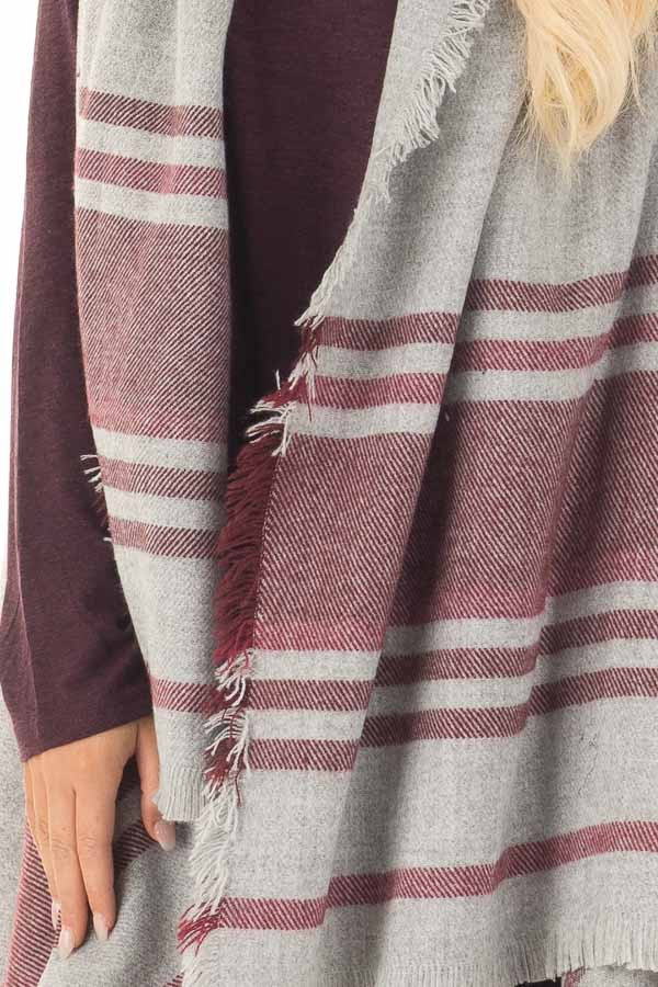 Heather Grey and Wine Sleeveless Cardigan with Fringe Detail front detail