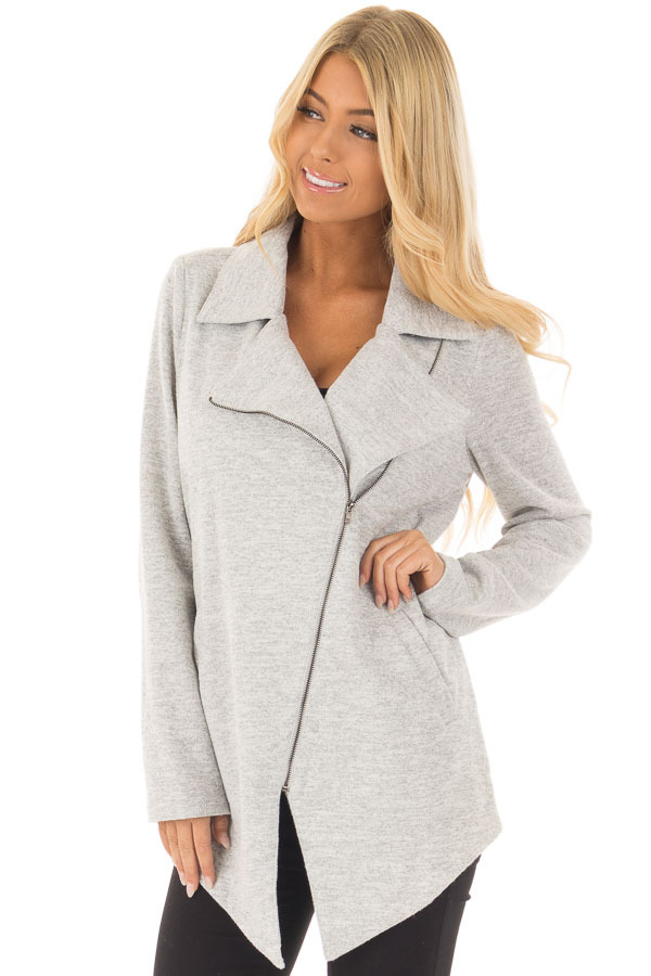Heather Grey Jacket with Asymmetric Zipper and Front Pockets front close up
