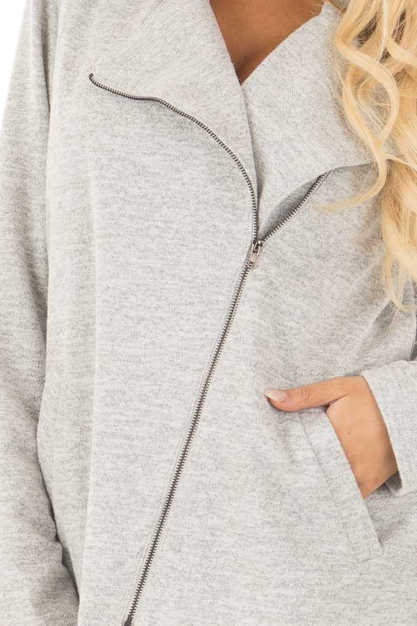 Heather Grey Jacket with Asymmetric Zipper and Front Pockets detail