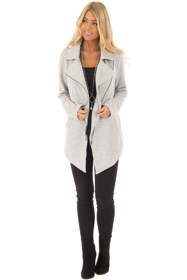 Heather Grey Jacket with Asymmetric Zipper and Front Pockets front full body