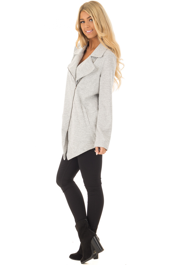 Heather Grey Jacket with Asymmetric Zipper and Front Pockets side full body