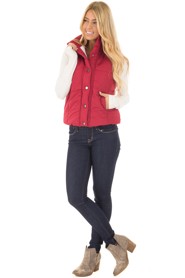 Crimson Button Up Vest with Faux Fur Lining front full body