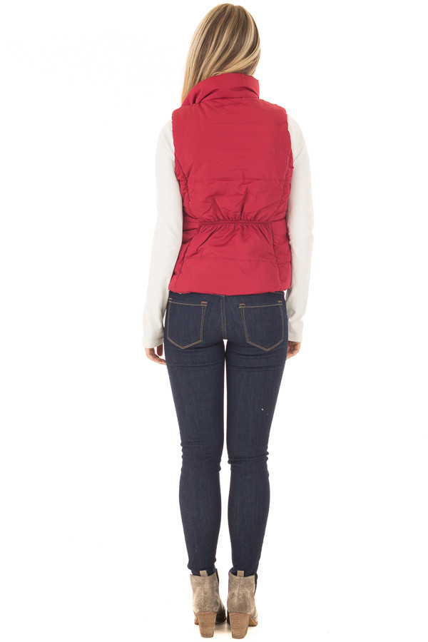 Crimson Button Up Vest with Faux Fur Lining back full body