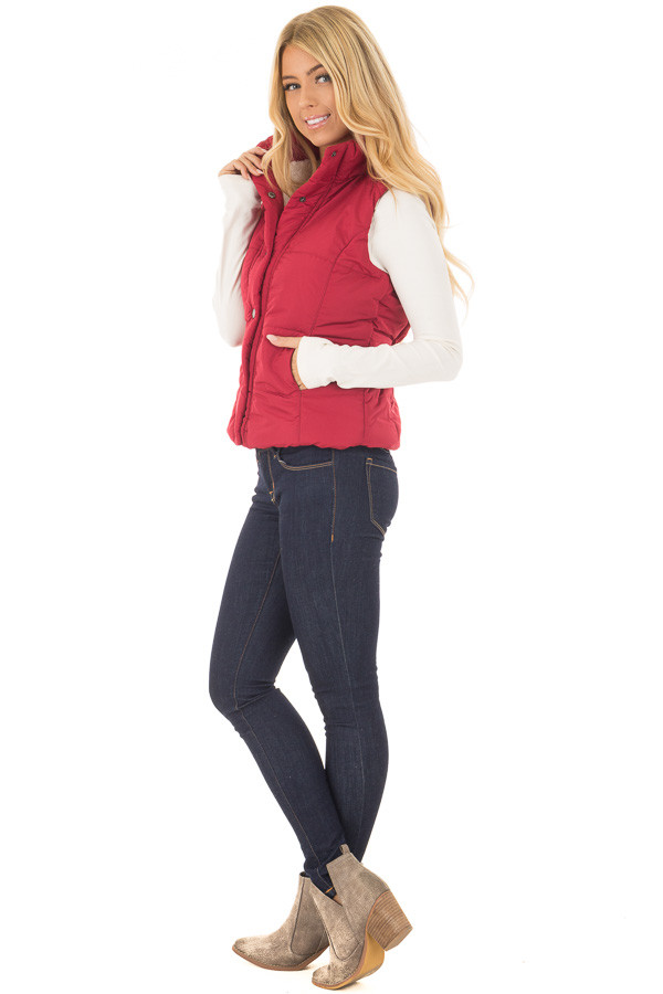 Crimson Button Up Vest with Faux Fur Lining side full body