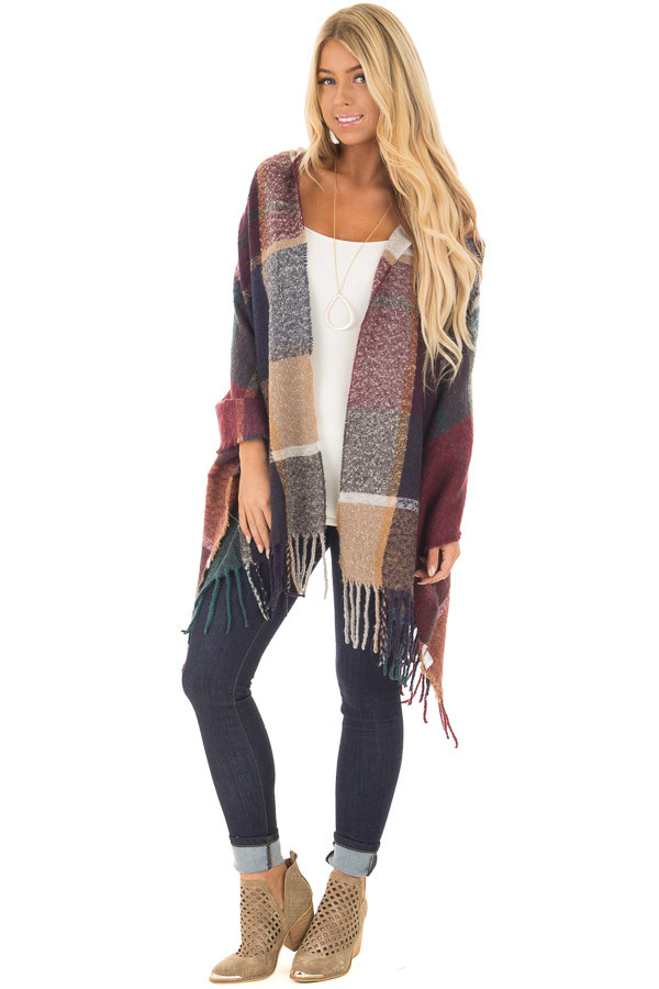 Burgundy Multi Color Shawl Wrap with Hood front full body
