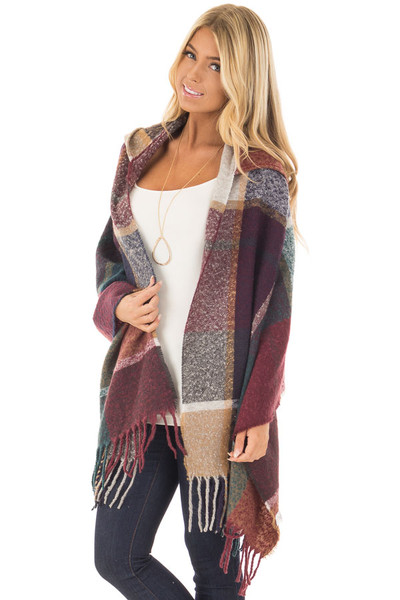 Burgundy Multi Color Shawl Wrap with Hood front close up