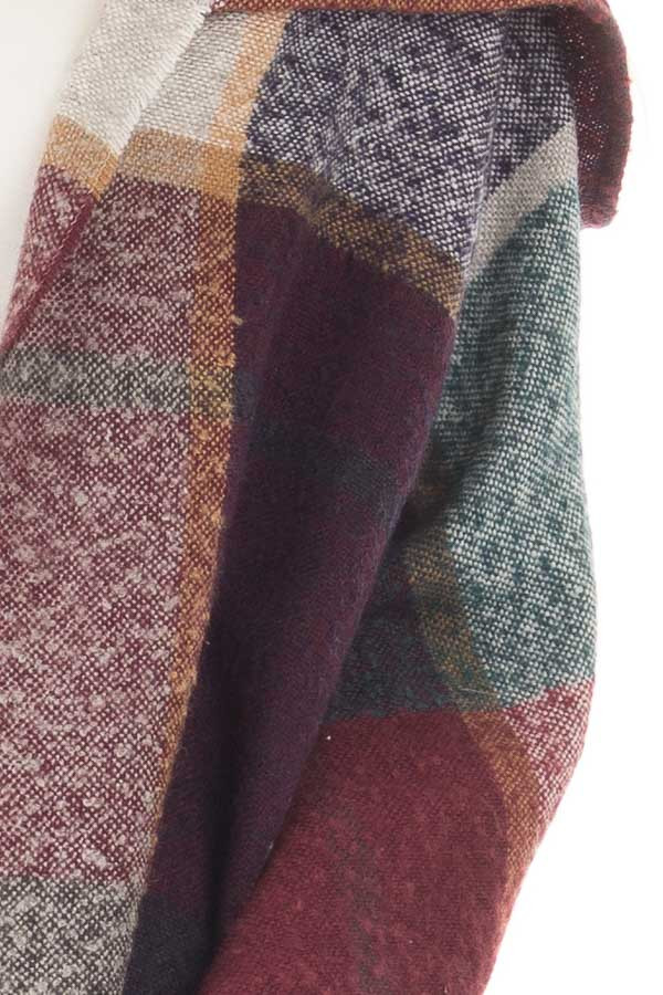 Burgundy Multi Color Shawl Wrap with Hood detail