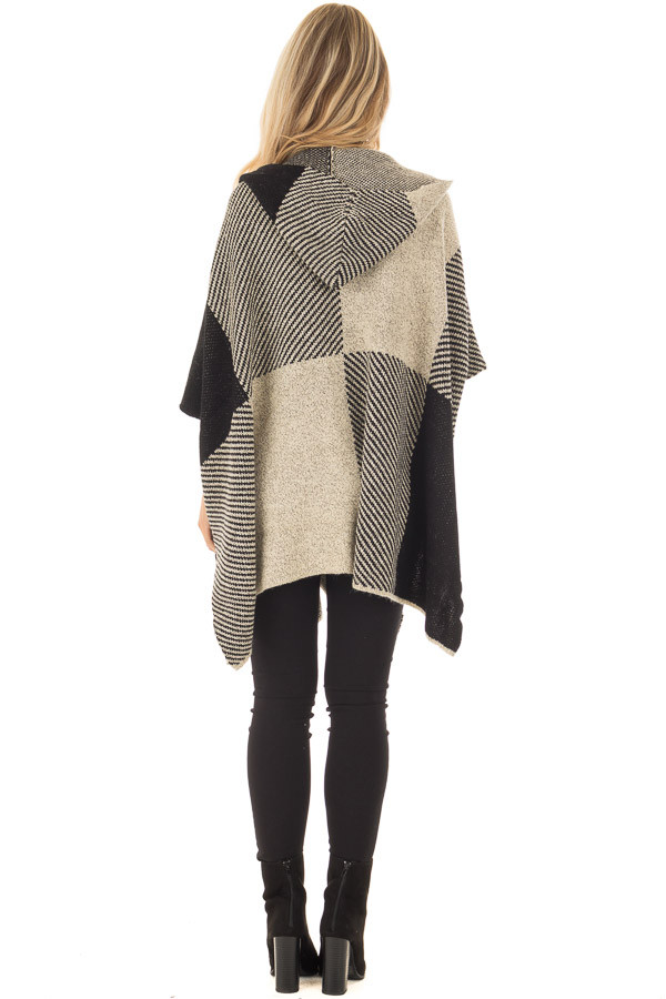 Beige and Black Oversize Open Cardigan with Hood back full body