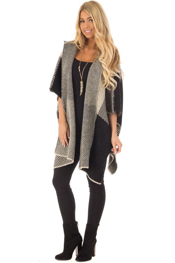 Beige and Black Oversize Open Cardigan with Hood front full body