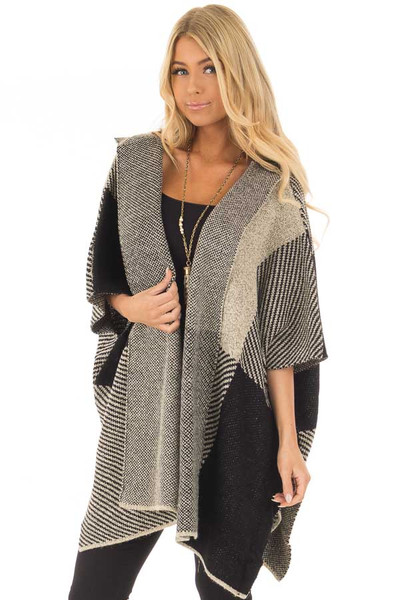 Beige and Black Oversize Open Cardigan with Hood front close up