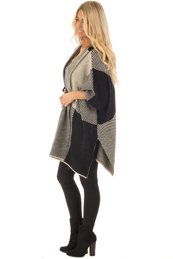 Beige and Black Oversize Open Cardigan with Hood side full body