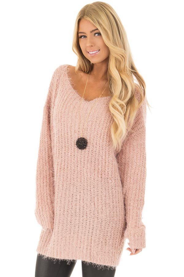 Blush Mohair Soft Long Sleeve Loose Fit Tunic Sweater front close up