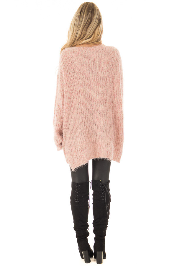 Blush Mohair Soft Long Sleeve Loose Fit Tunic Sweater back full body