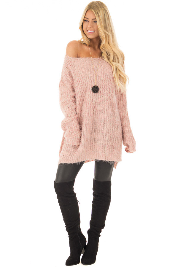 Blush Mohair Soft Long Sleeve Loose Fit Tunic Sweater front full body