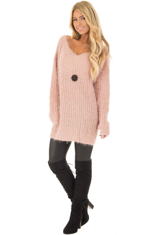 Blush Mohair Soft Long Sleeve Loose Fit Tunic Sweater - Lime Lush ...