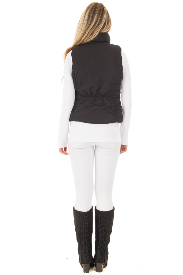 Black Button Up Vest with Faux Fur Lining back full body