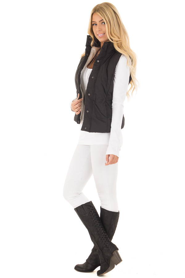 Black Button Up Vest with Faux Fur Lining side full body