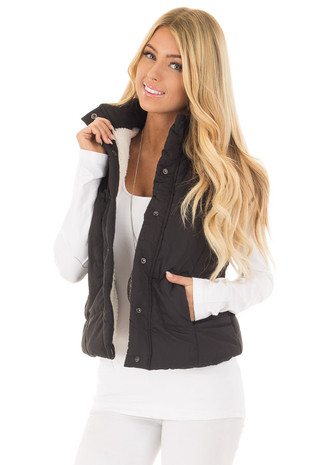 Black Button Up Vest with Faux Fur Lining front close up