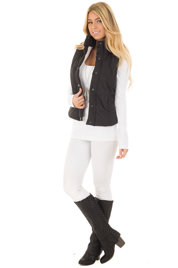 Black Button Up Vest with Faux Fur Lining front full body