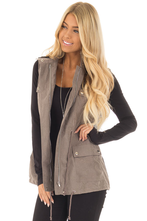 Charcoal Faux Suede Vest with Contrast Back and Tie Detail front close up
