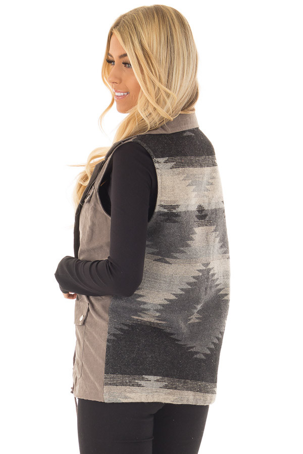 Charcoal Faux Suede Vest with Contrast Back and Tie Detail back side close up