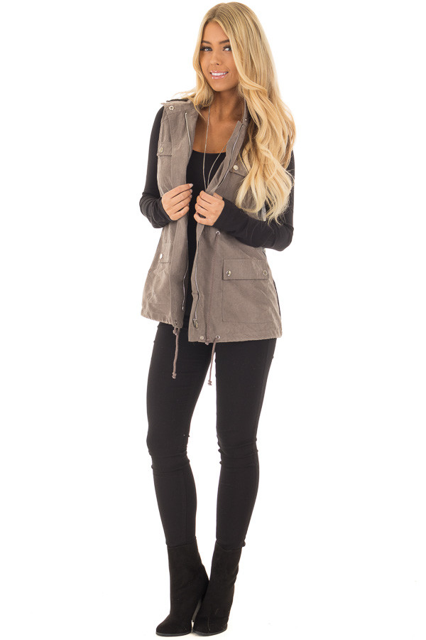 Charcoal Faux Suede Vest with Contrast Back and Tie Detail front full body