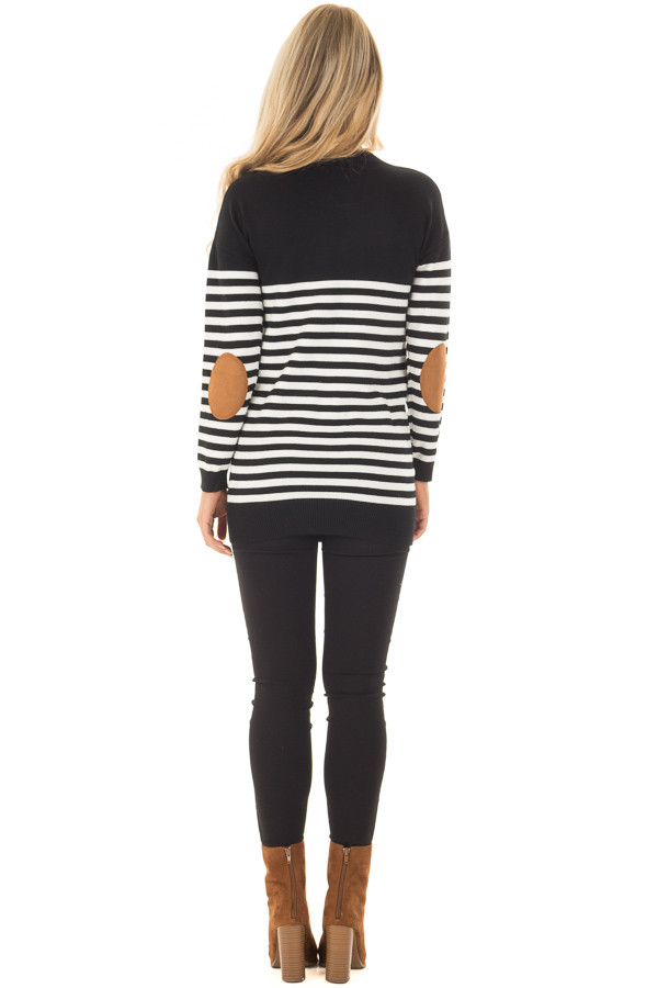 Black and White Striped Long Sleeve Top with Elbow Patches back full body