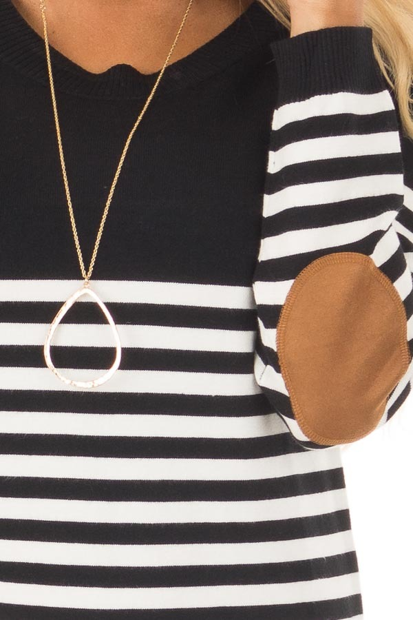 Black and White Striped Long Sleeve Top with Elbow Patches front detail