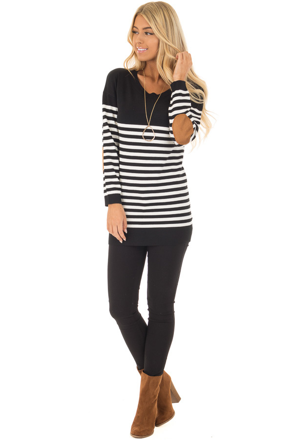 Black and White Striped Long Sleeve Top with Elbow Patches front full body