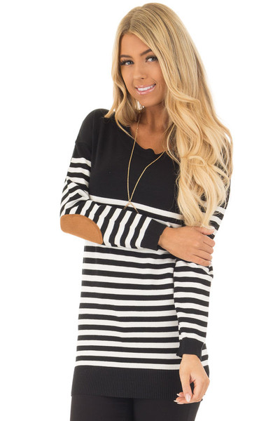 Black and White Striped Long Sleeve Top with Elbow Patches front closeup