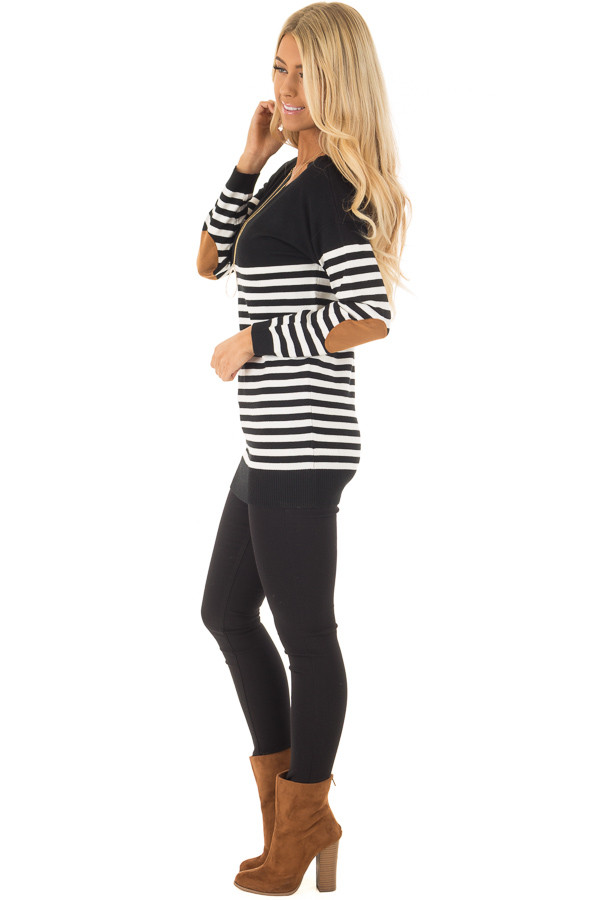 Black and White Striped Long Sleeve Top with Elbow Patches side full body
