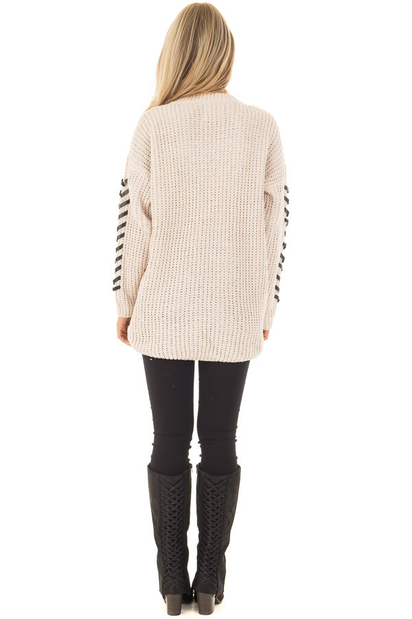 Beige Knit Sweater with Faux Leather Details back full body