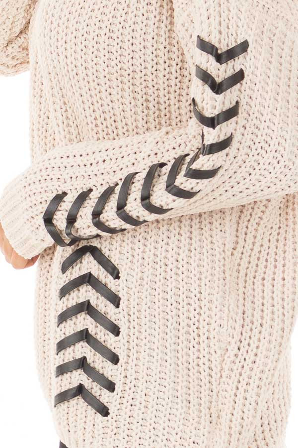 Beige Knit Sweater with Faux Leather Details side detail