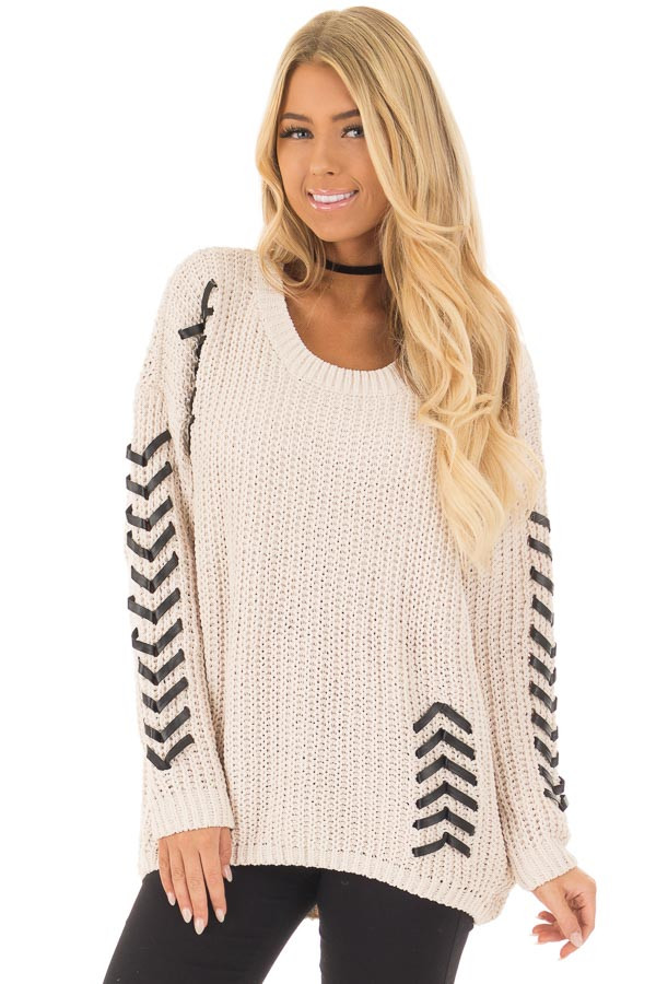 Beige Knit Sweater with Faux Leather Details front closeup