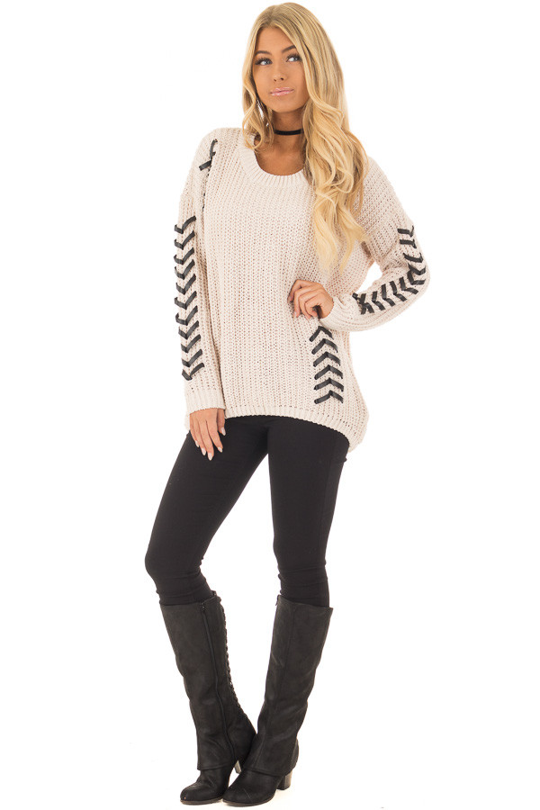 Beige Knit Sweater with Faux Leather Details front full body