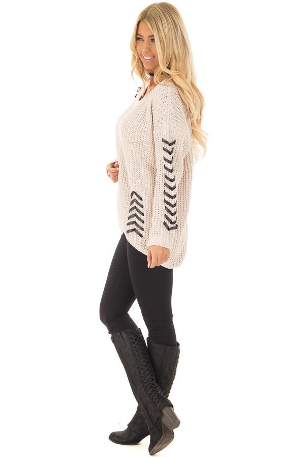 Beige Knit Sweater with Faux Leather Details side full body