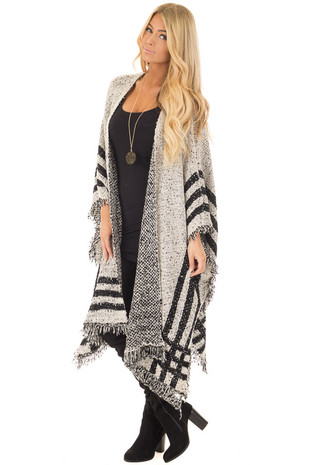 Oatmeal and Black Oversized Open Cardigan Poncho front full body