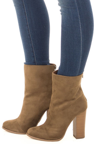 Mossy Bronze Faux Suede High Heeled Bootie side view
