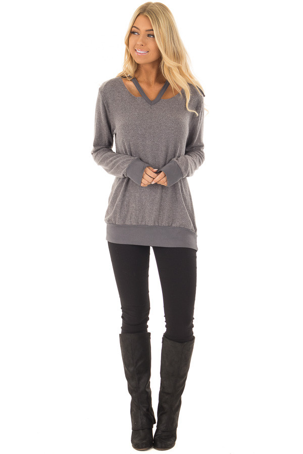 Cloudy Grey Long Sleeve Top with Cut Out Neckline Detail front full body
