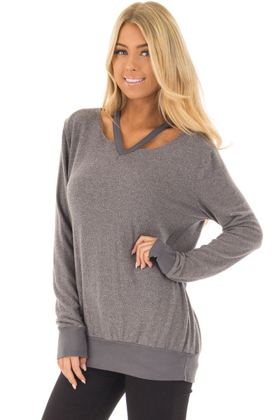 Cloudy Grey Long Sleeve Top with Cut Out Neckline Detail front closeup