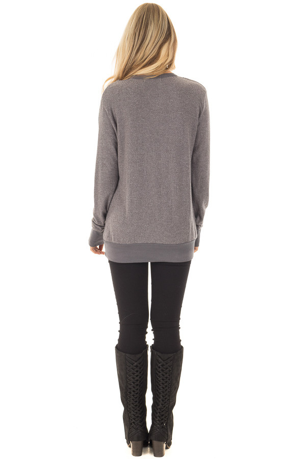 Cloudy Grey Long Sleeve Top with Cut Out Neckline Detail back full body