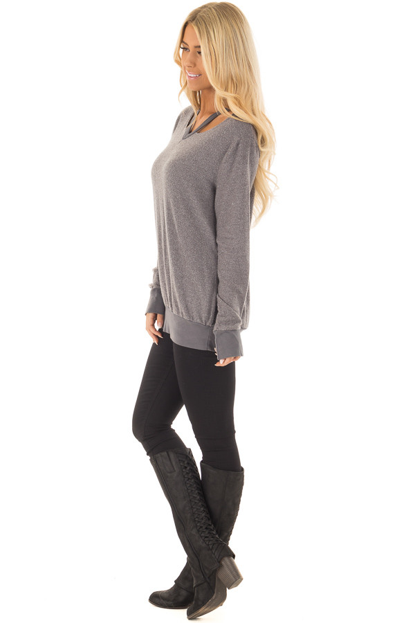 Cloudy Grey Long Sleeve Top with Cut Out Neckline Detail side full body