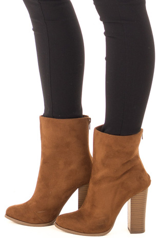 Tan Faux Suede High Heeled Bootie side