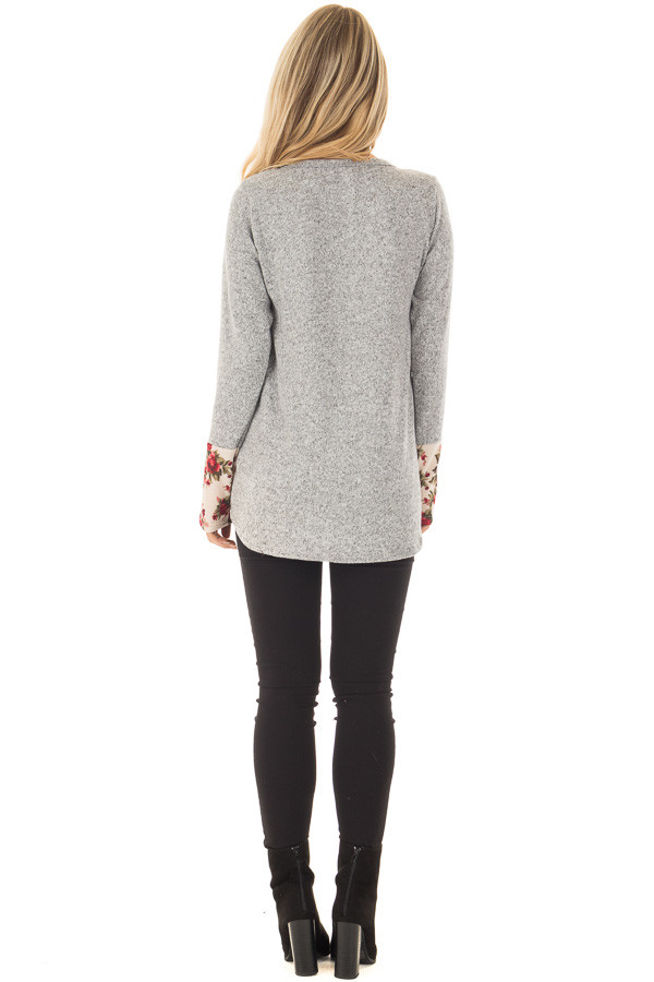 Heather Grey Soft Two Tone Long Sleeve Top with Floral Cuffs back full body