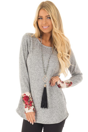 Heather Grey Soft Two Tone Long Sleeve Top with Floral Cuffs front close up