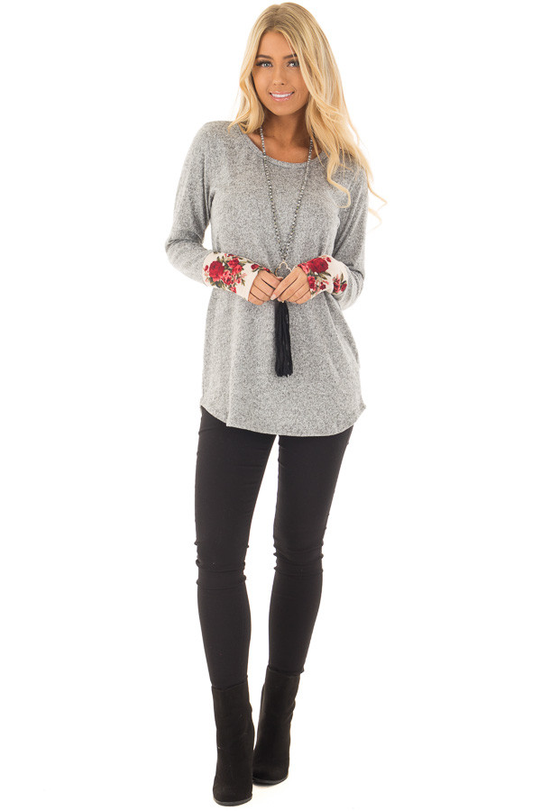 Heather Grey Soft Two Tone Long Sleeve Top with Floral Cuffs front full body