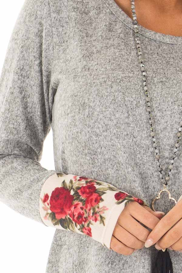 Heather Grey Soft Two Tone Long Sleeve Top with Floral Cuffs detail