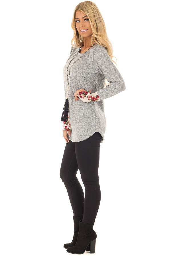 Heather Grey Soft Two Tone Long Sleeve Top with Floral Cuffs side full body