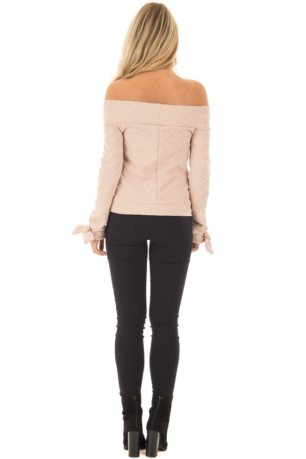 Taupe Quilted Off the Shoulder Top with Tie Cuffs back full body